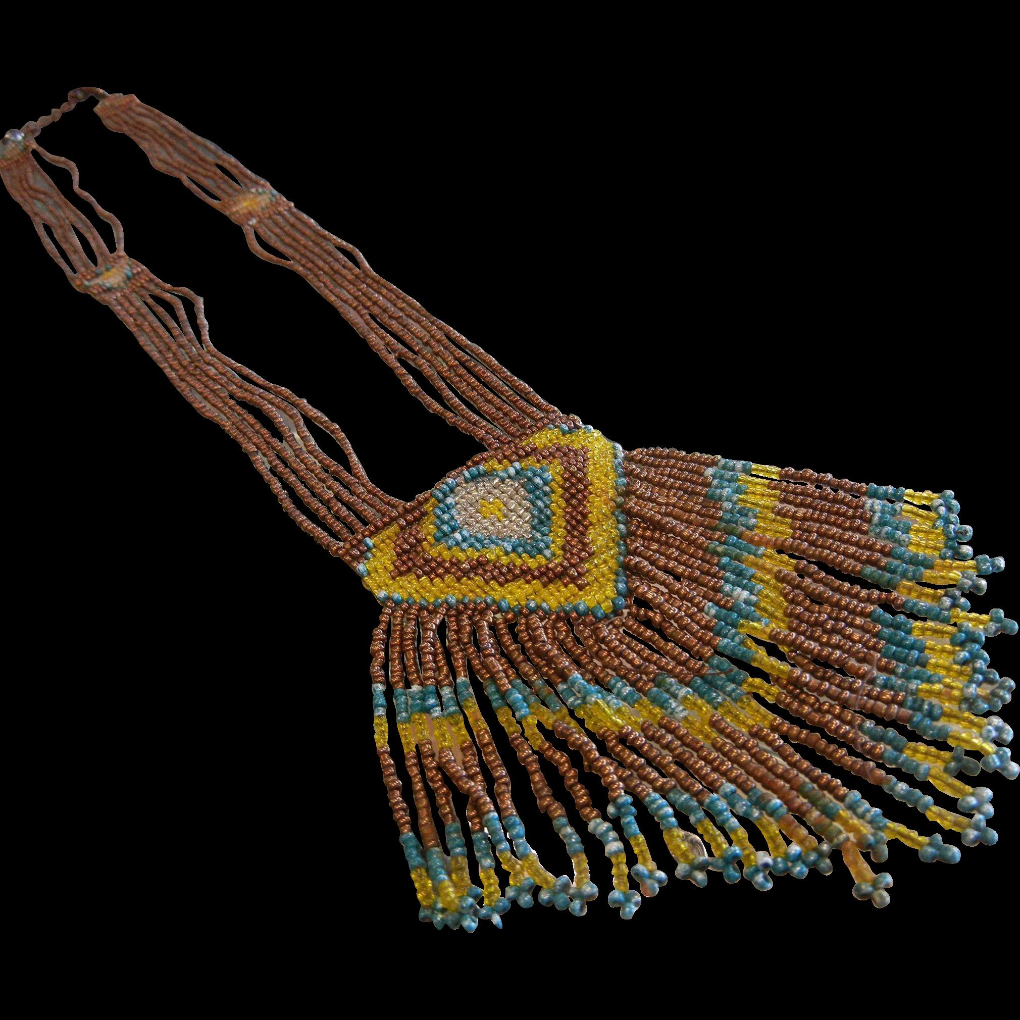 Vintage Designer Hand Beaded Fringe Style Necklace