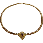 Fabulous 18K Yellow Gold Choker Necklace w/ Ruby & Diamonds