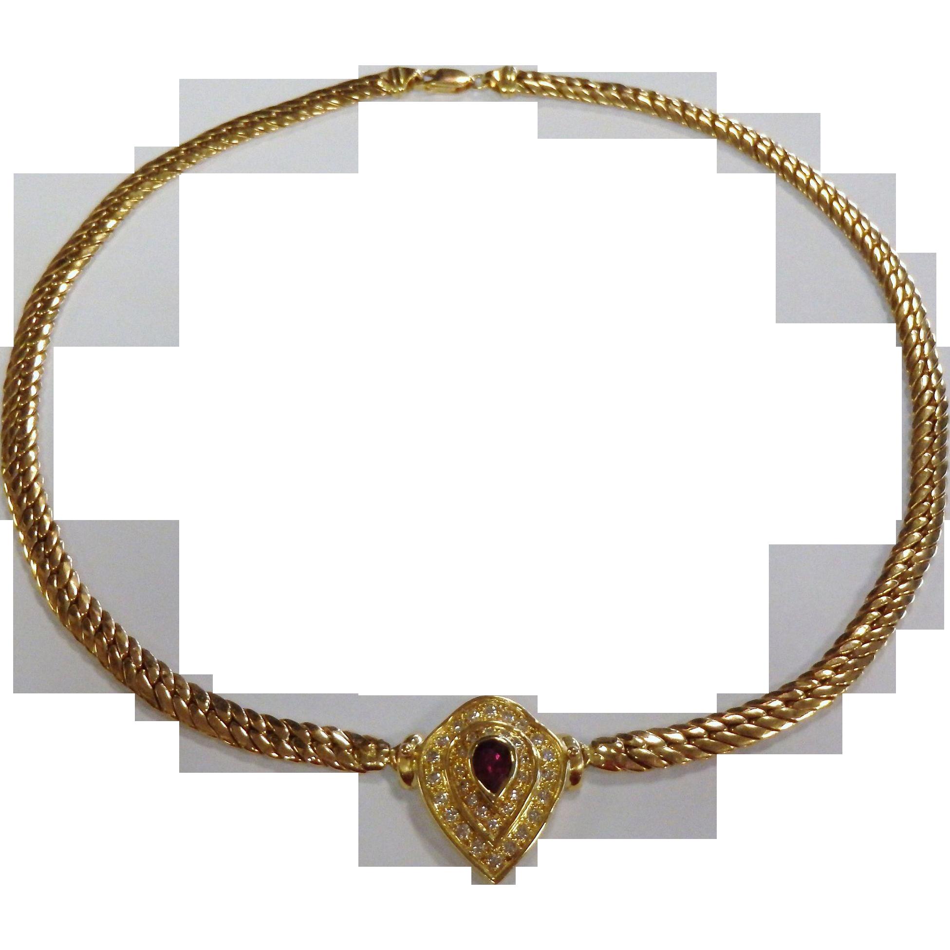 Fabulous 18K Yellow Gold Choker Necklace w/ Ruby & Diamonds