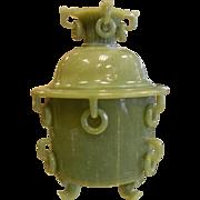 Large Carved Jade Lidded Pot