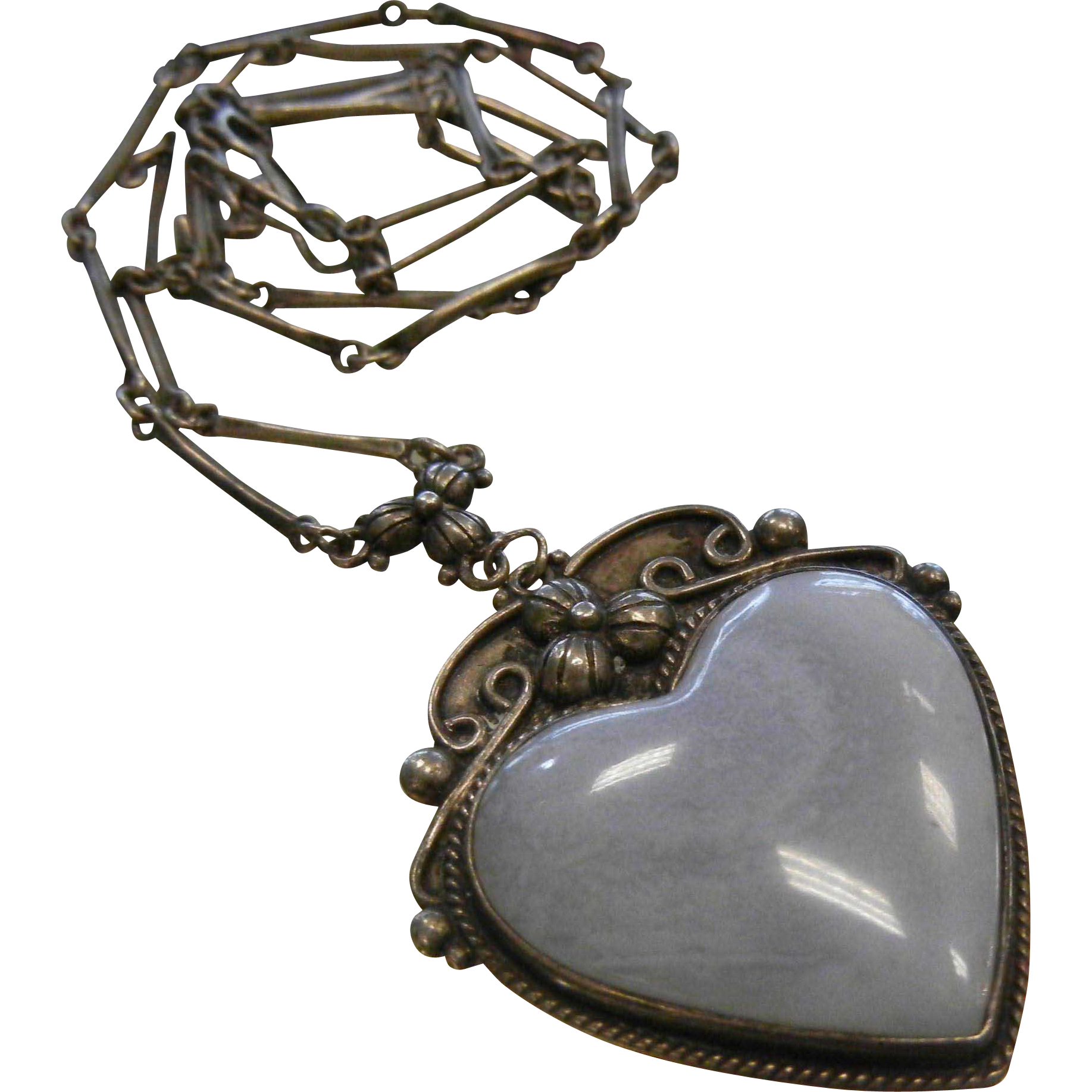Signed Sterling Silver Heart-Shaped Pendant Necklace w/ Lace Agate