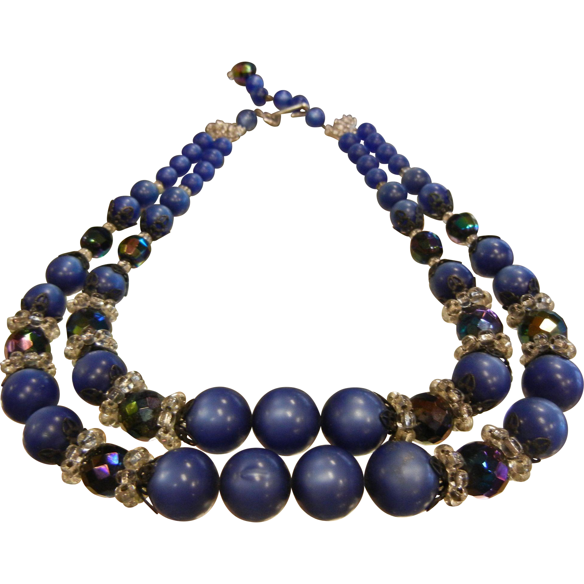 Vintage Two-Strand Graduated Blue Moon GLOW Plastic Beaded Necklace