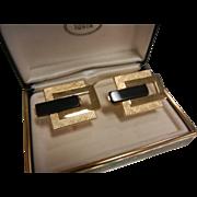 Vintage SWANK Gold-Tone Geometric Cufflinks