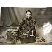 Vintage B&W Photograph - Native American Basket Weaver