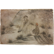 Antique Hand Painted Japanese Stone Painting Picture