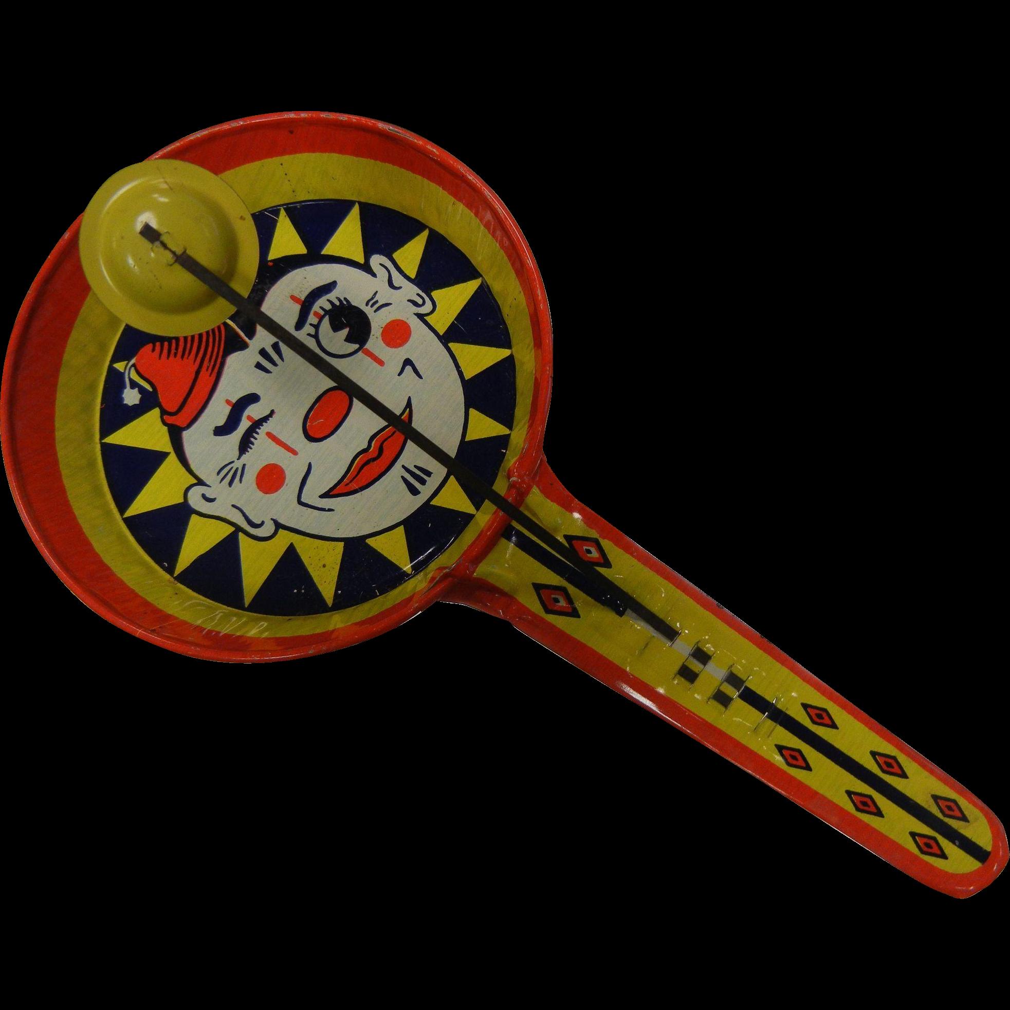 Vintage Kirchhof USA Colorful Clown Noisemaker Metal Toy