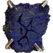 Unique Signed Echo of the Dreamer Sterling Silver Ring w/ Natural Azurite