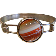 Vintage German Mid Century 830 Silver Hinged Cuff Bracelet w/ Natural Banded Agate