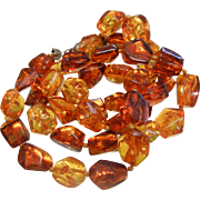 Vintage Polished Natural Amber Nugget Beaded Necklace