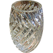 Large Vintage Twisted Cut Crystal Vase