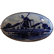 Vintage Delfts Holland Blue & White Porcelain Brooch