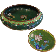 Vintage Green & Floral Chinese Cloisonne Enameled Bowl & Plate