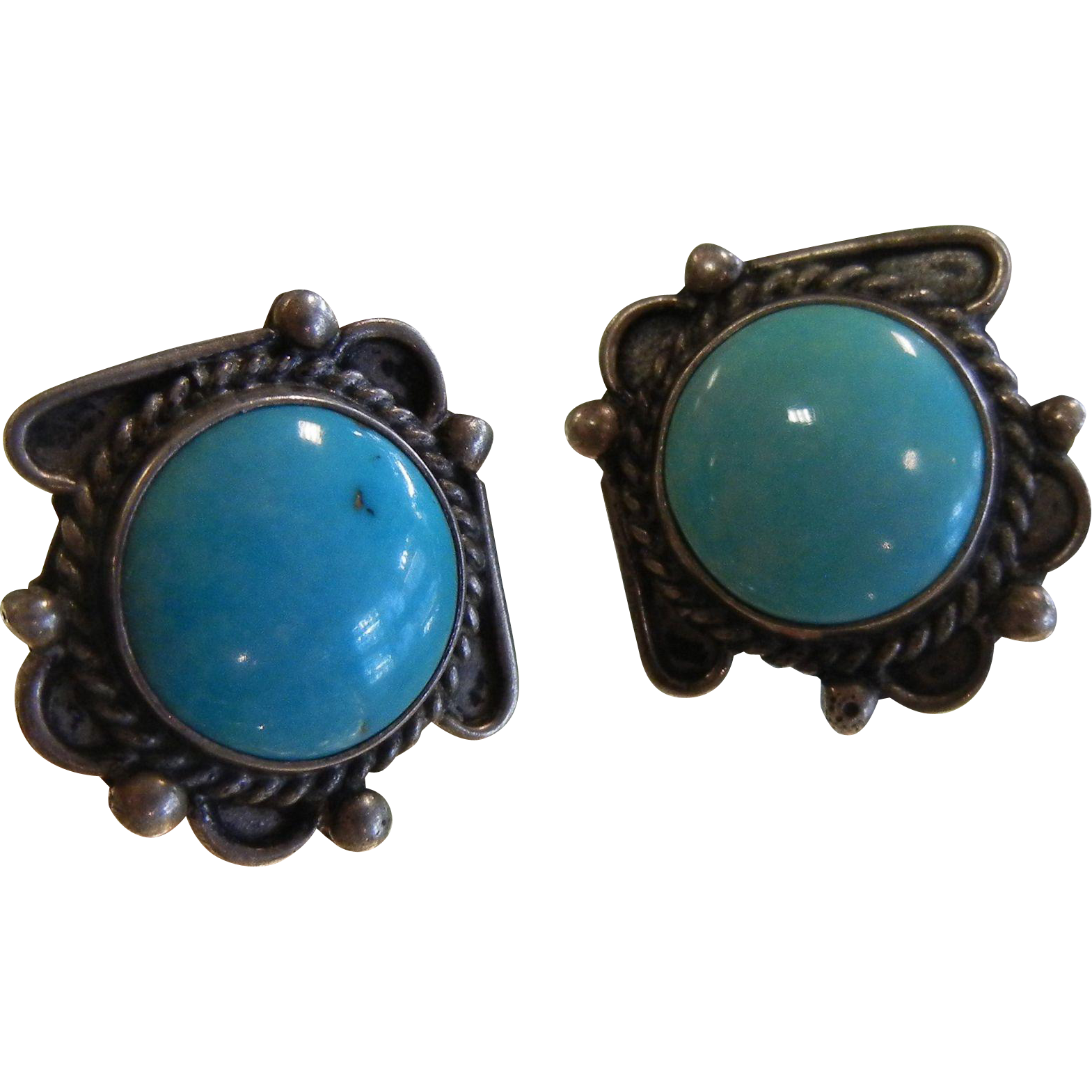 Vintage Sterling Silver Screw Back Earrings w/ Natural Turquoise Cabochons