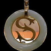 Natural Jade Pendant w/ 9K 'S' Medallion