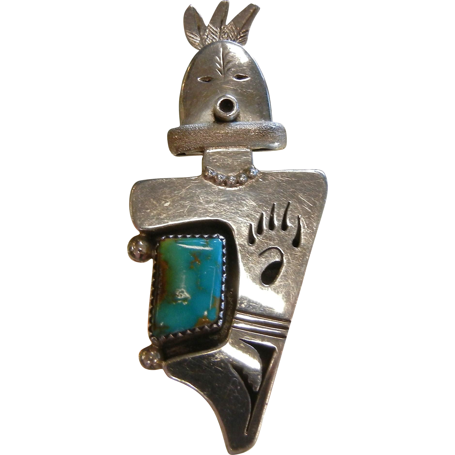 Signed Nelson Morgan Navajo Sterling Silver Warrior Kachina Pendant