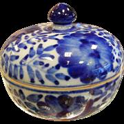 Vintage Asian White & Blue Porcelain Trinket Box
