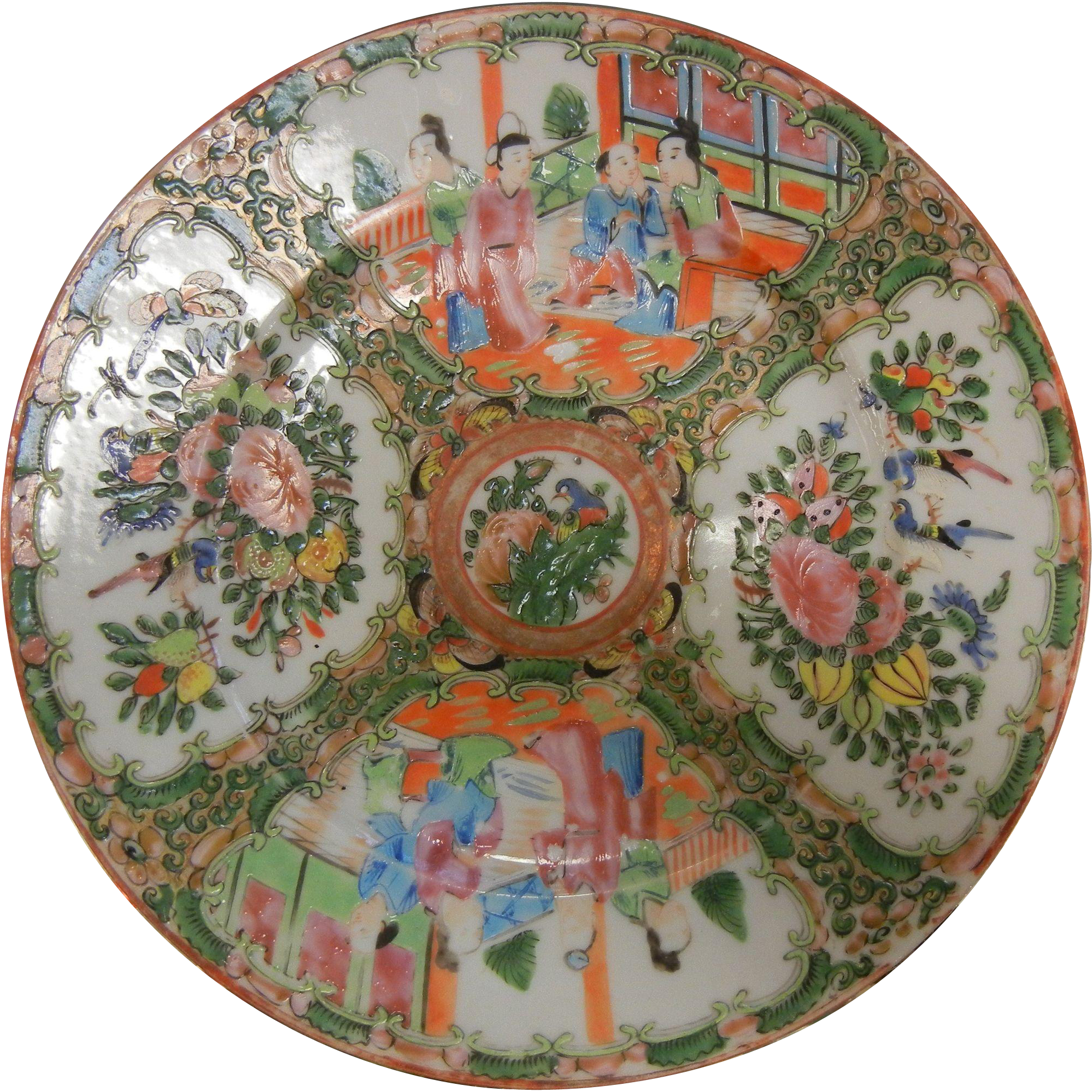 Vintage Chinese Rose Medallion Enameled Porcelain Plate
