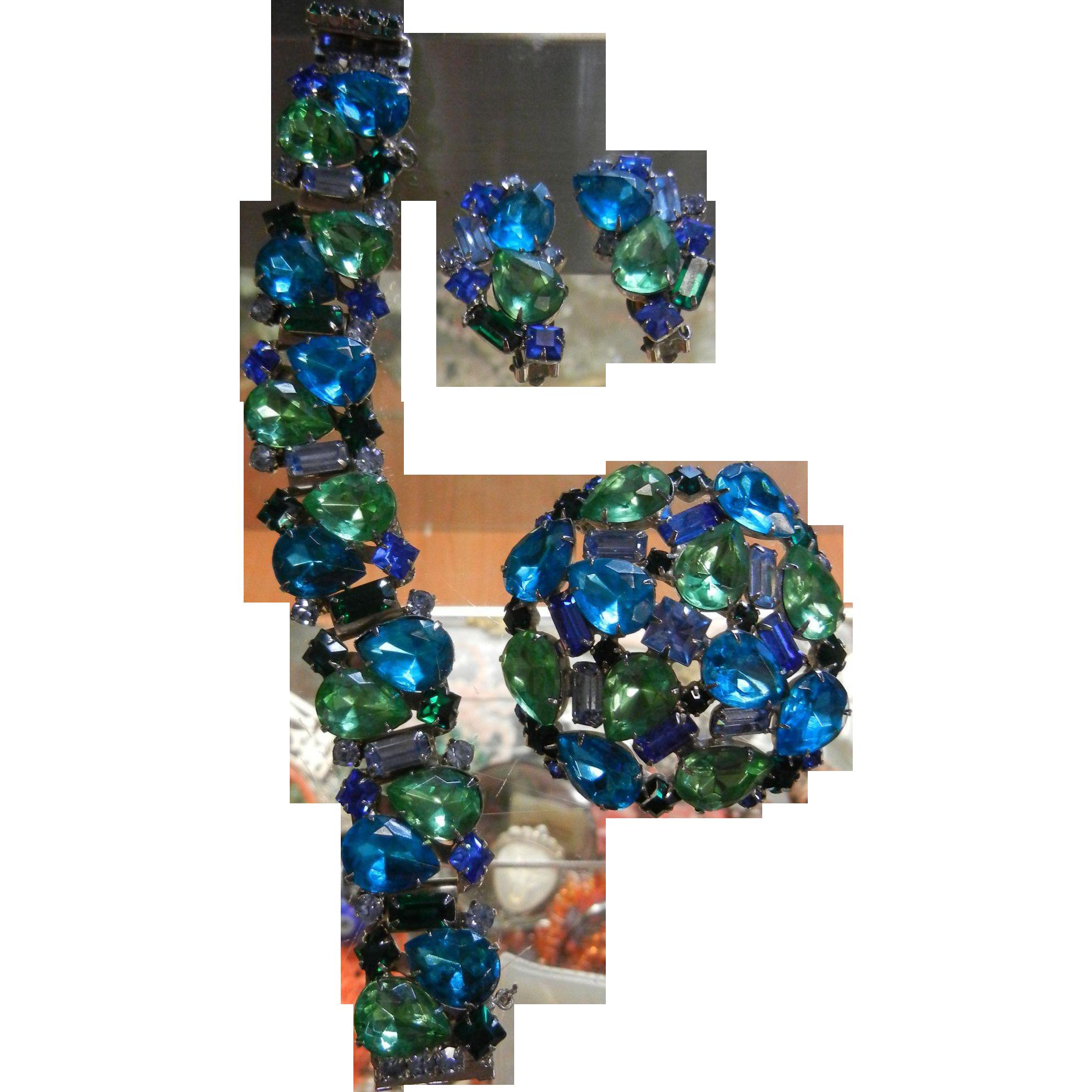 Vintage 3 Piece Juliana Four Color Blue & Green Costume Jewelry Set