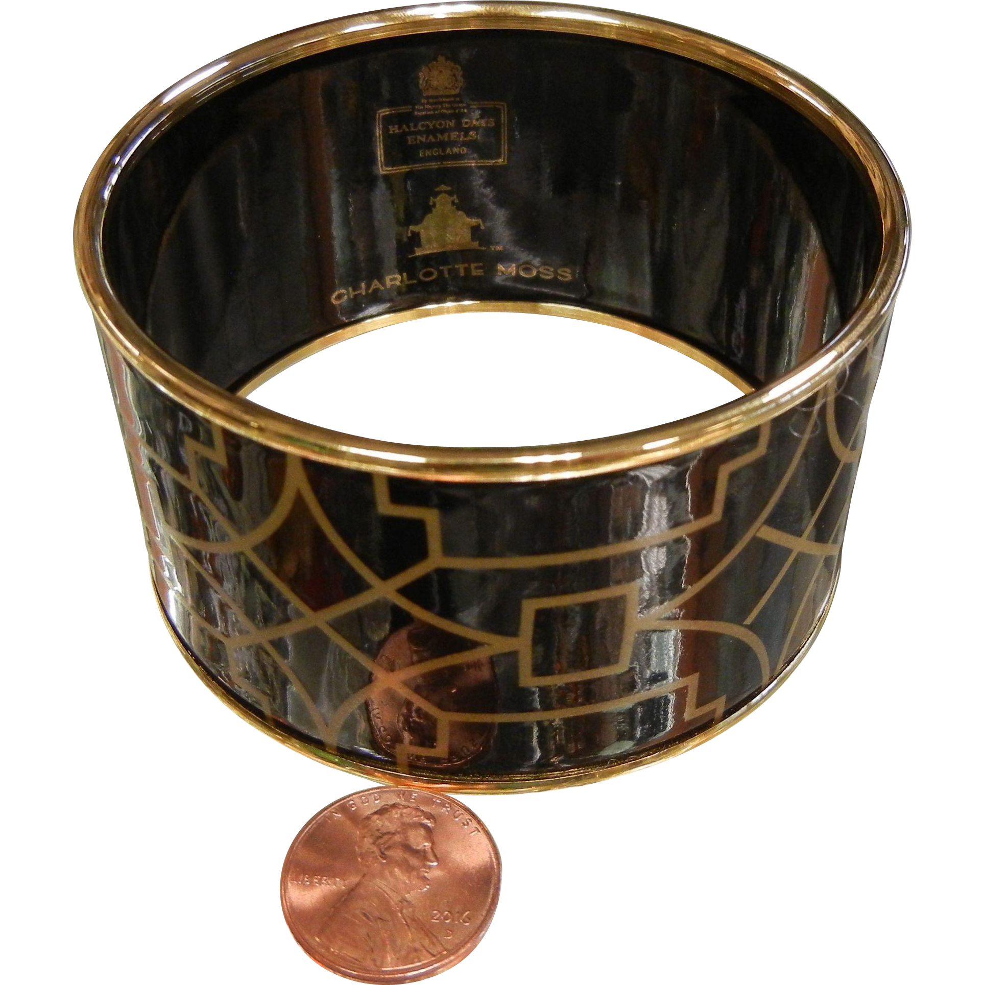 Wide Enameled Black & Gold-Tone Luxury Bangle Bracelet by Charlotte Moss Halcyon Days England