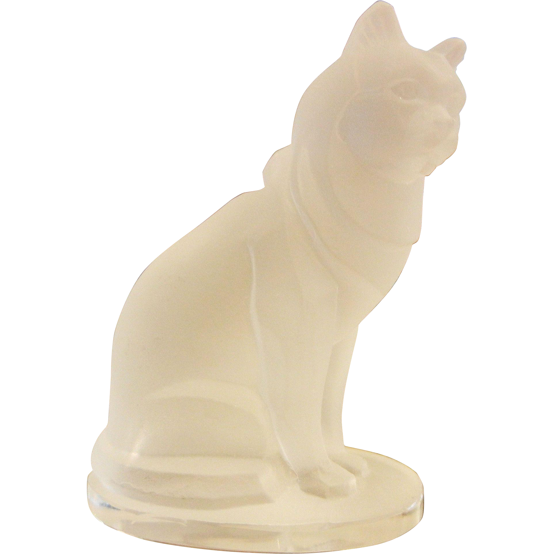 Vintage Signed DESNA Frosted Glass Figurine - Sitting Cat