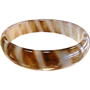 Fabulous Polished Natural Banded Agate Bangle Bracelet