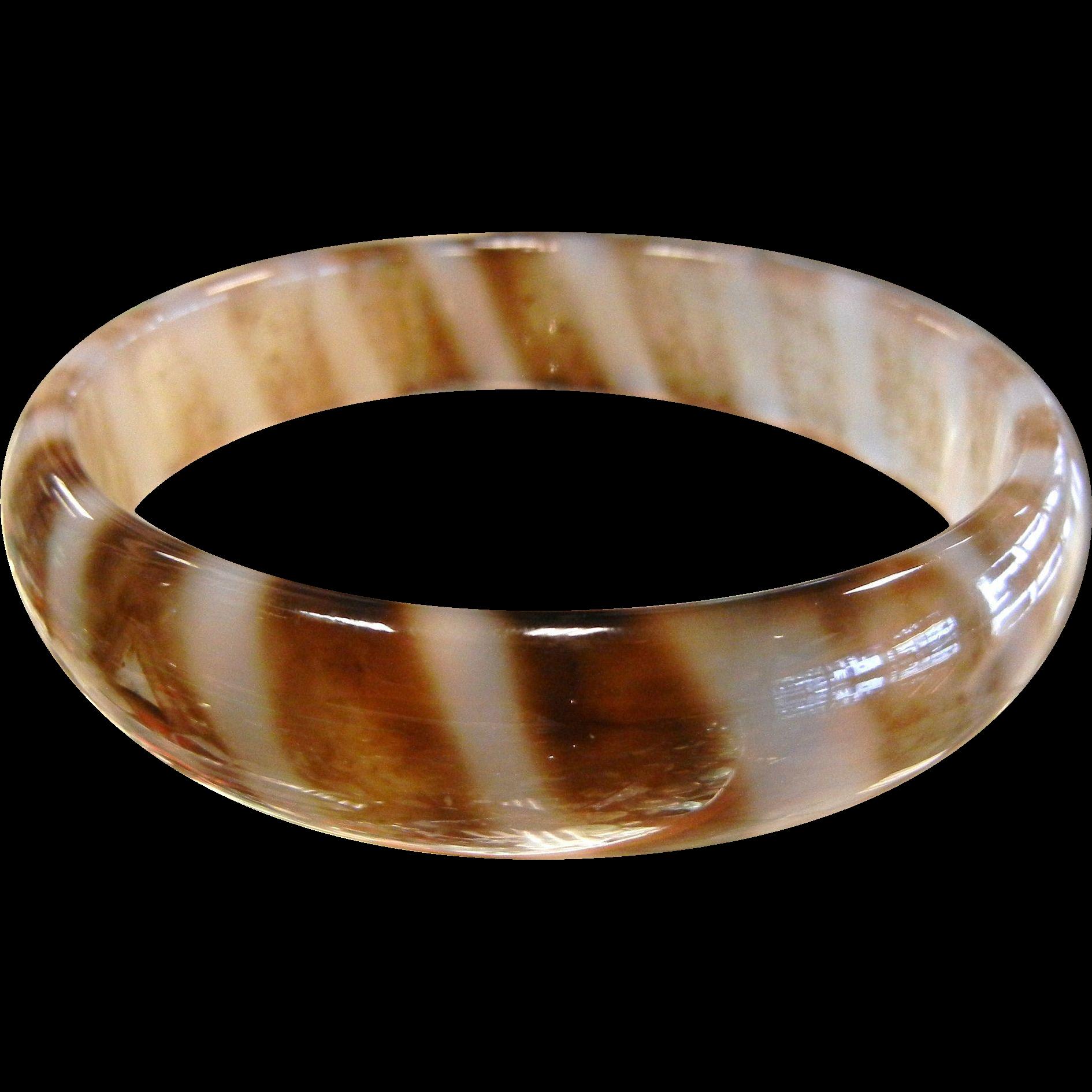 Fabulous Polished Natural Banded Agate Bangle Bracelet