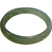 Fine Polished Natural Green Agate Bangle Bracelet