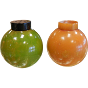 Vintage Catalin Plastic Salt & Pepper Shakers Red Brown & Green