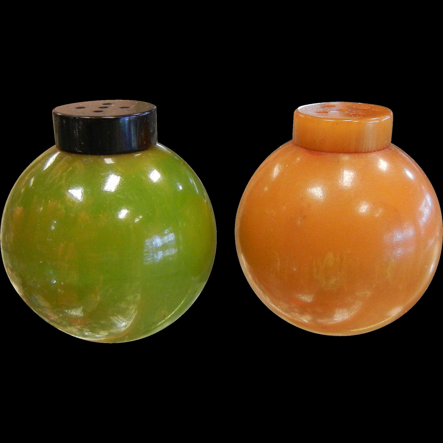 Vintage Catalin Plastic Salt & Pepper Shakers Red Brown & Green