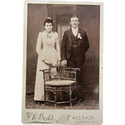Vintage B&W Cabinet Photograph - Marriage Bride &  Chair Husband