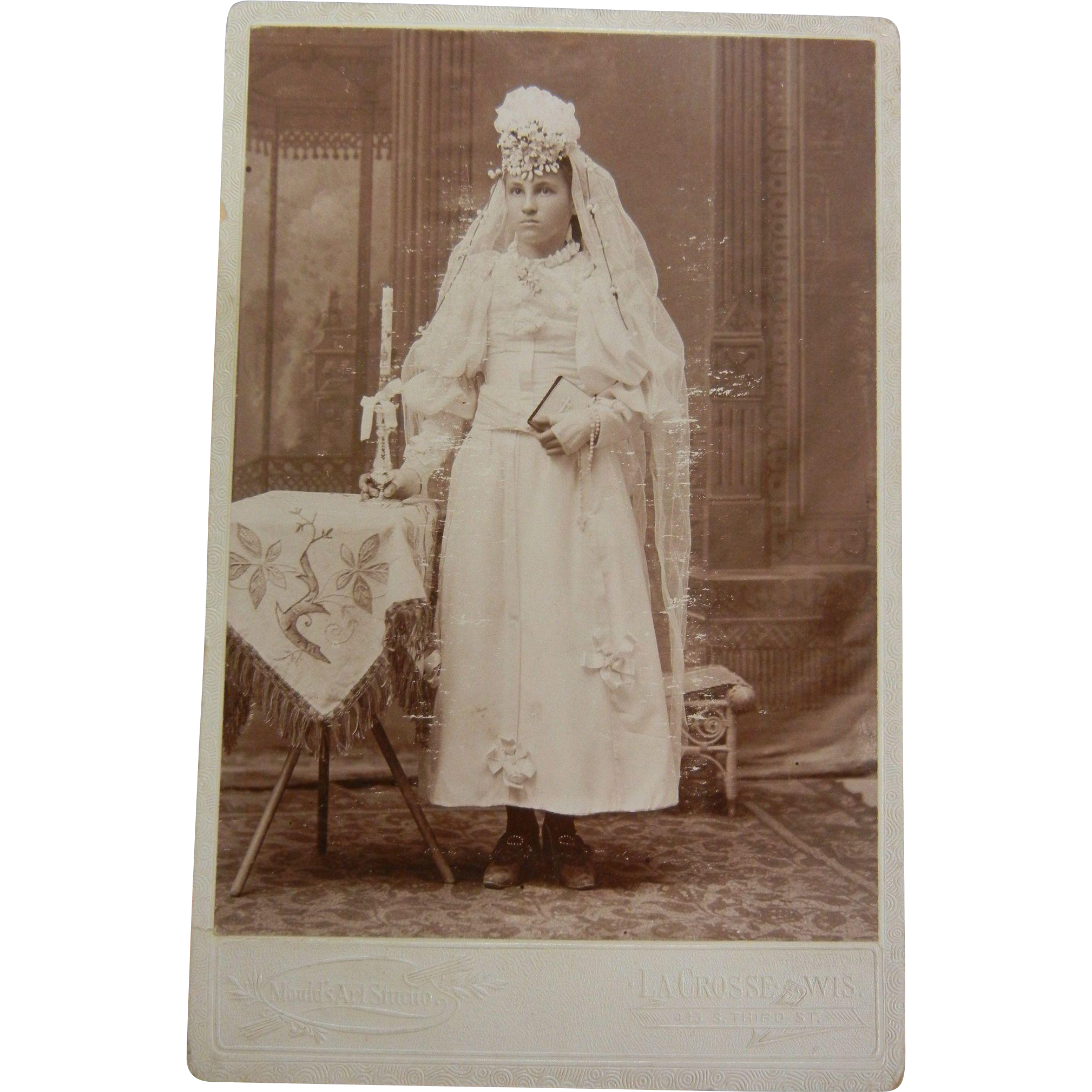 Vintage B&W Cabinet Photograph - Girl First Communion Decorated With Wax Beaded Headdress