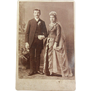 Old Vintage B&W Cabinet Photograph - Marriage Couple Decorated in old Fashion