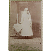 Vintage B&W Cabinet Photograph - First Communion Girl  White Dress Period Head Dress
