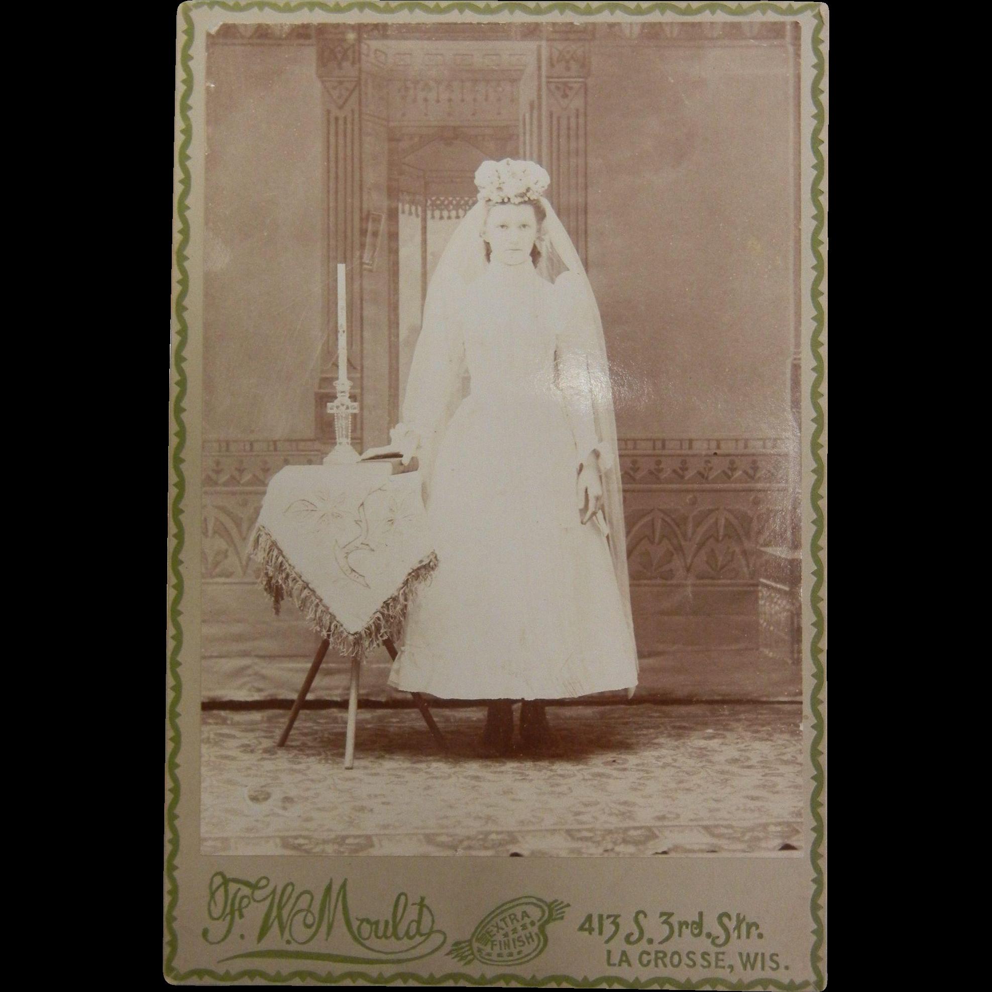 Vintage B&W Cabinet Photograph - First Communion Girl  White Dress Period Head Dress