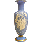 Vintage Blue Milk Glass Vase