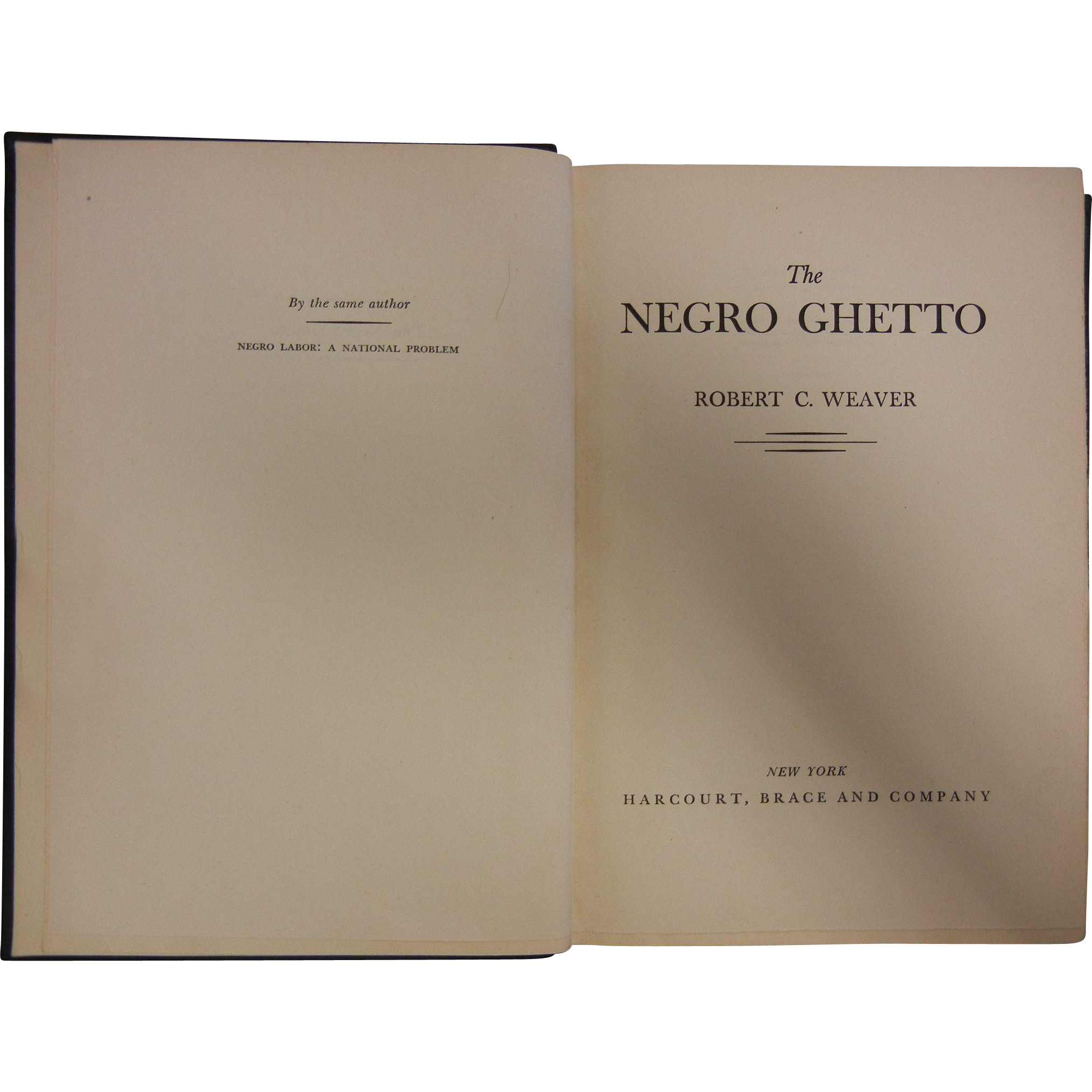 "1948 First Edition Hardcover Book ""The Negro Ghetto"" by Robert Weaver"