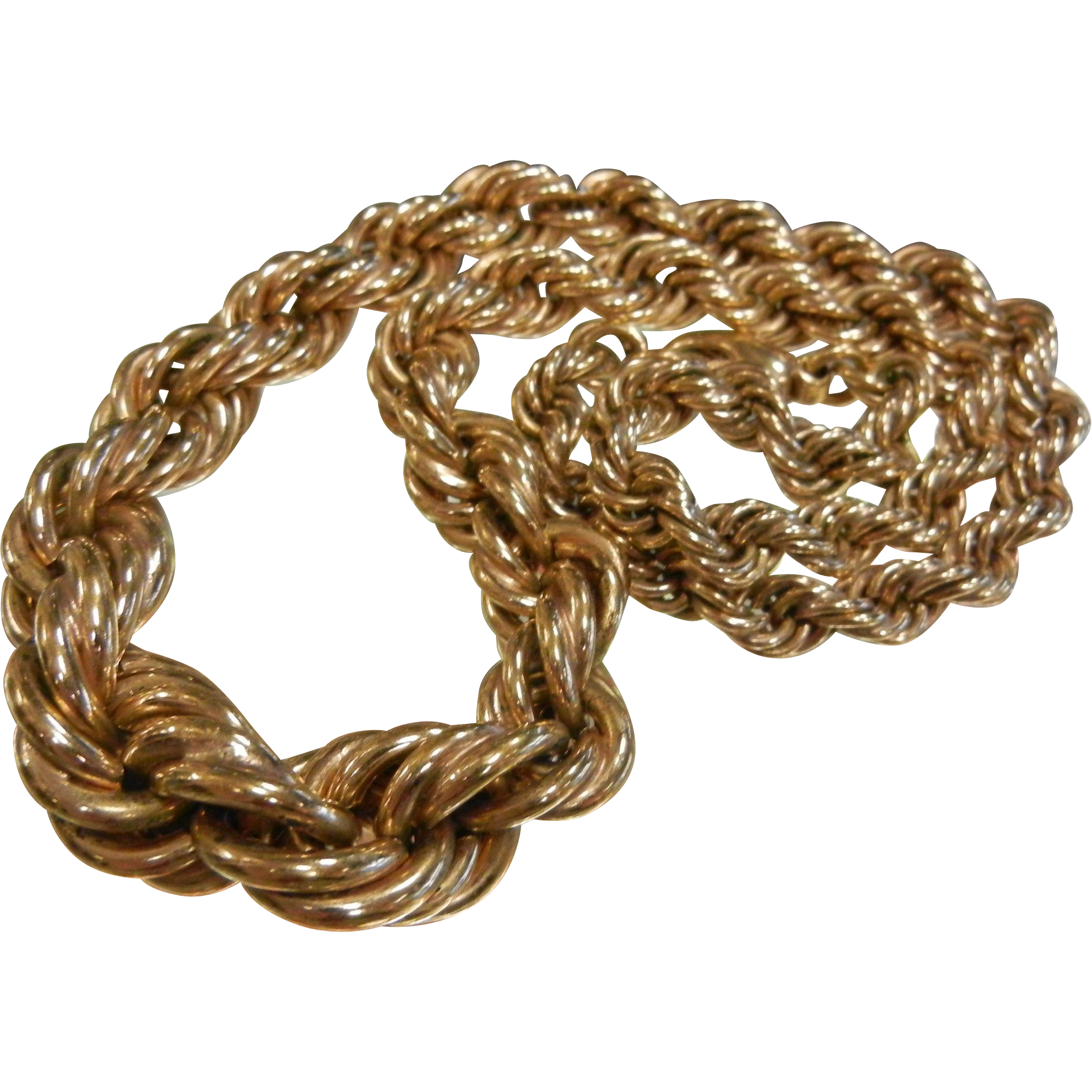Vintage 14K Gold Plated Large Twisted Rope Necklace