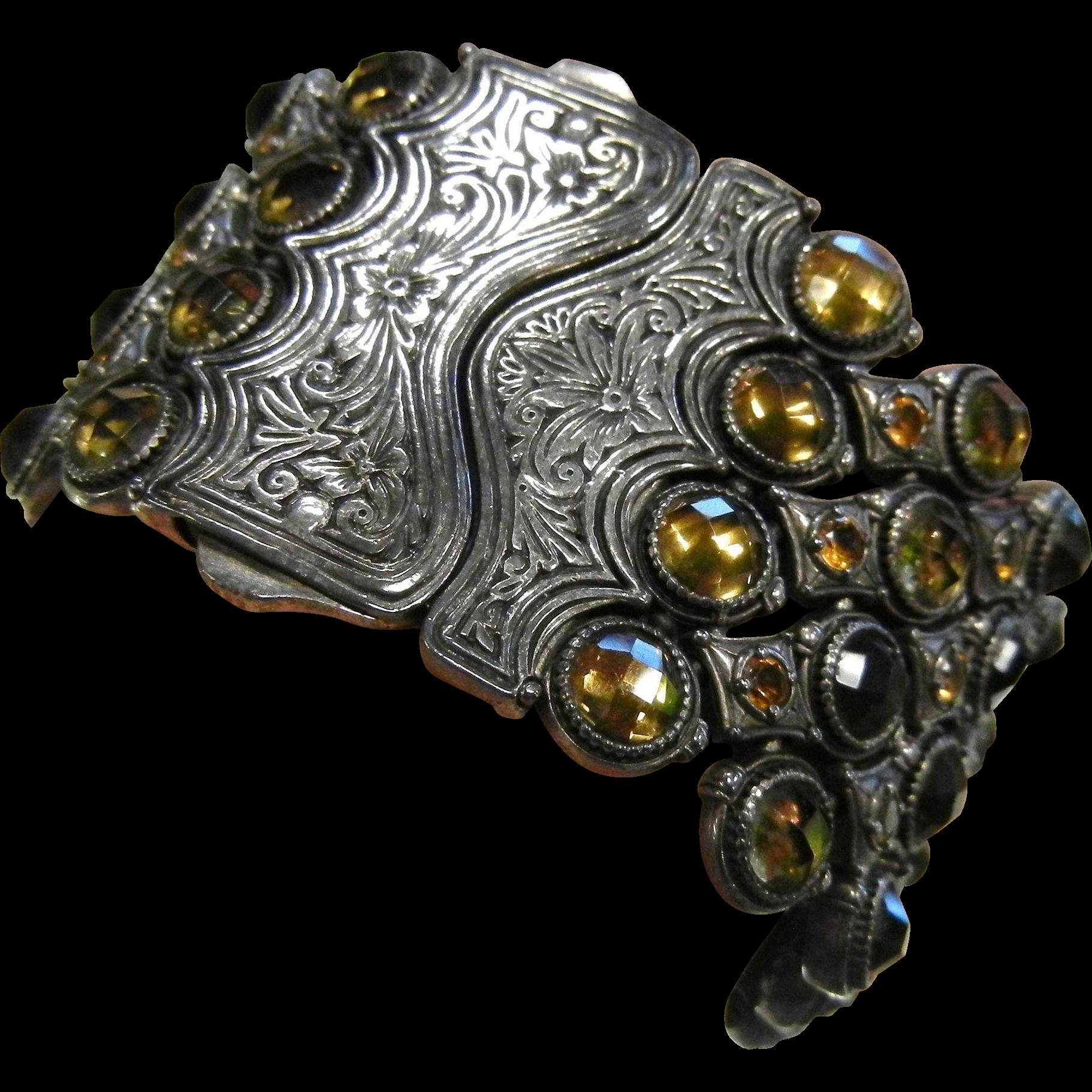 Fabulous Designer Signed KONSTANTINO Etched 4 Strand Sterling Silver Bracelet w/ Citrine Gemstones