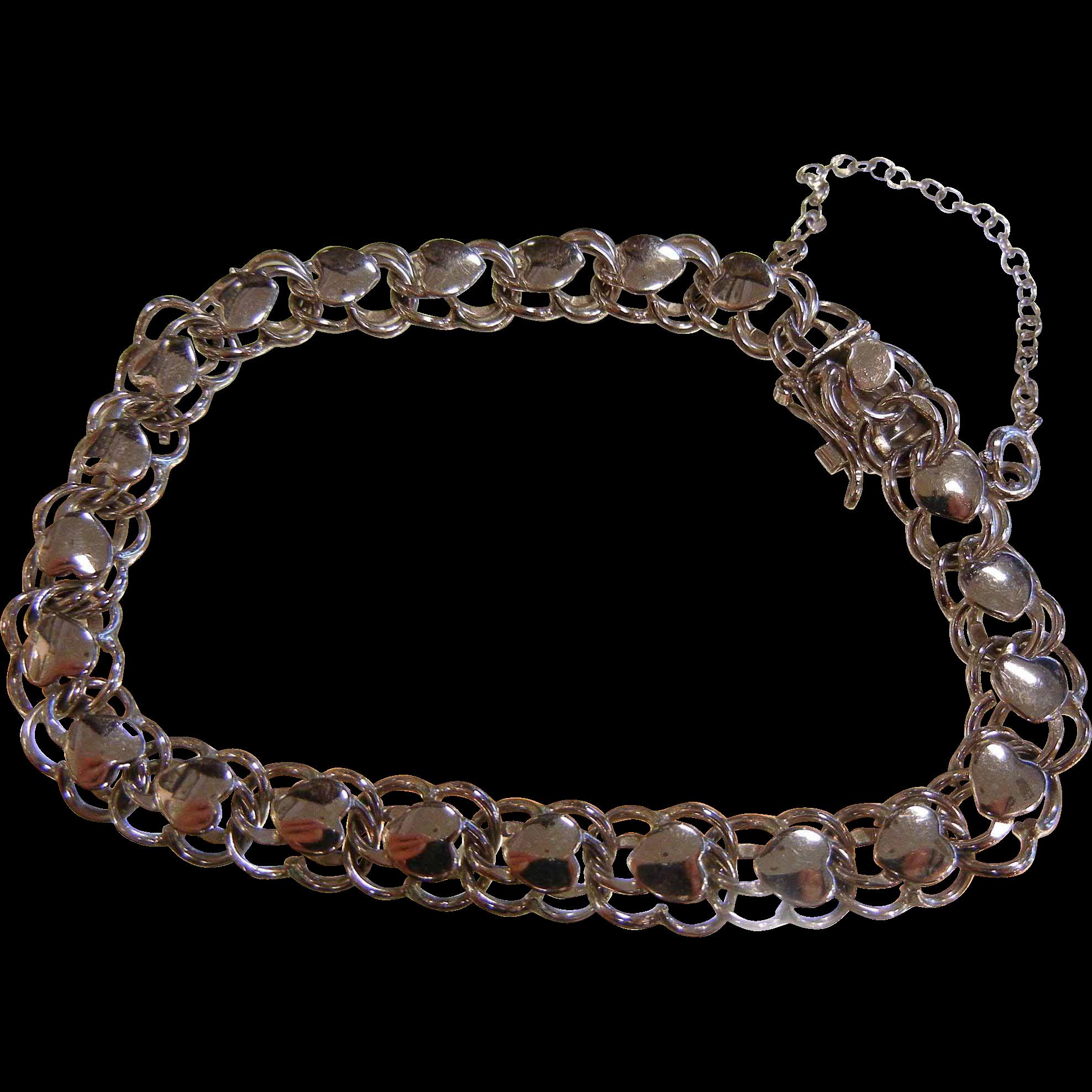 Fine American Sterling Silver Charm Bracelet w/ Heart Links