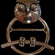 Modernist Beau Sterling Silver OWL Brooch