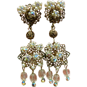 Fabulous Vintage Clip Earrings w/ Faux-Pearls & Iridescent Glass Beads
