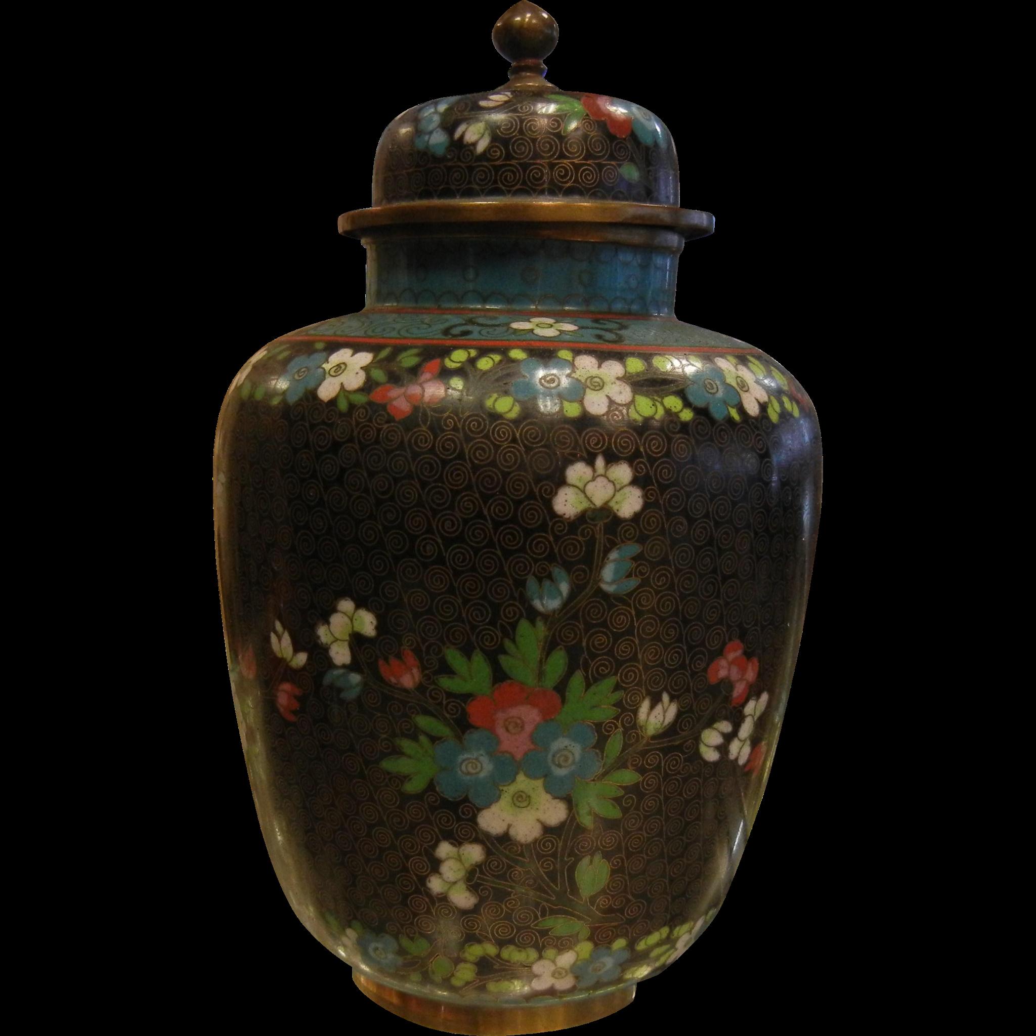 Vintage Black Enameled Chinese Vase w/ Lid Urn
