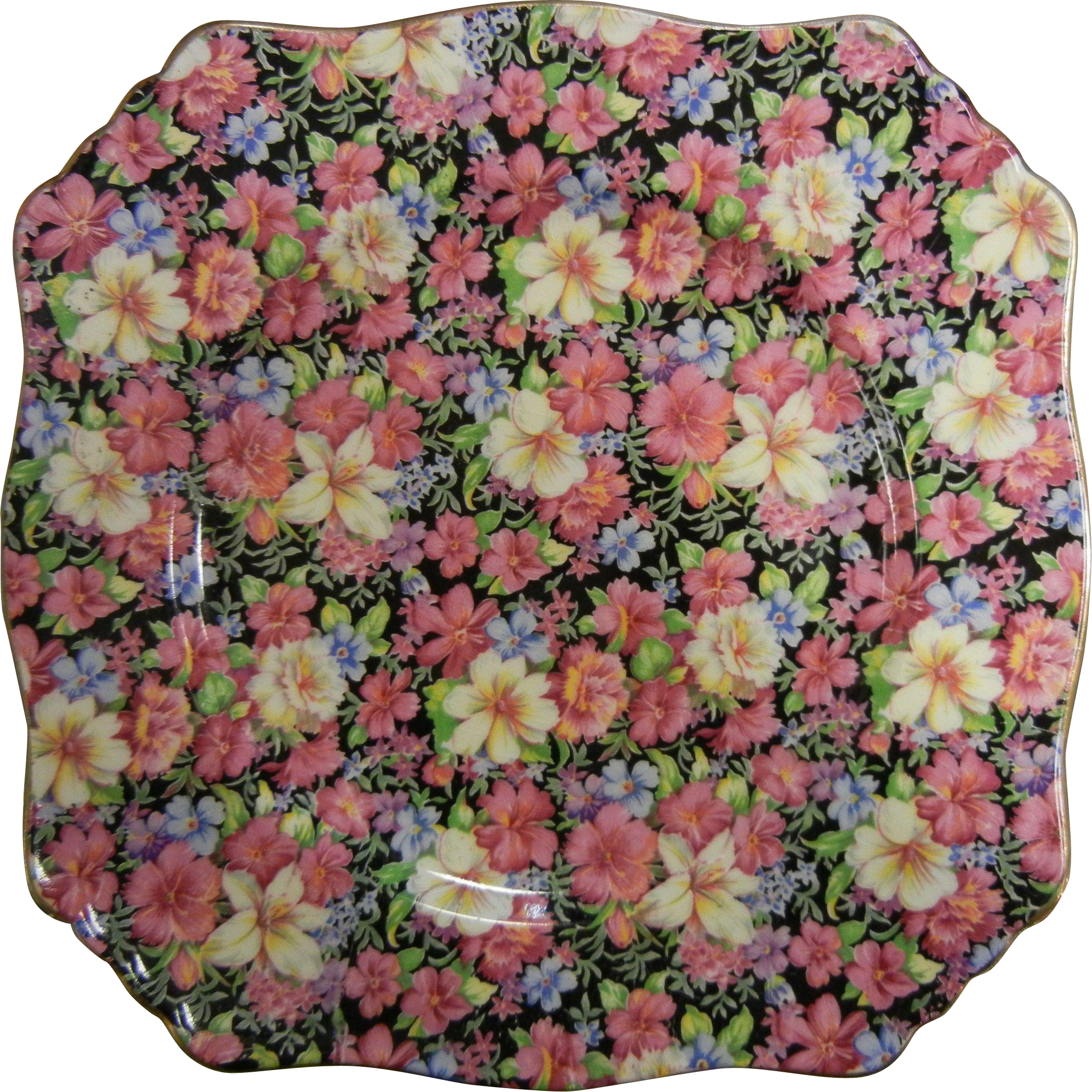 Vintage Royal Winton Chintz Grimwades Porcelain Plate w/ Floral Designs