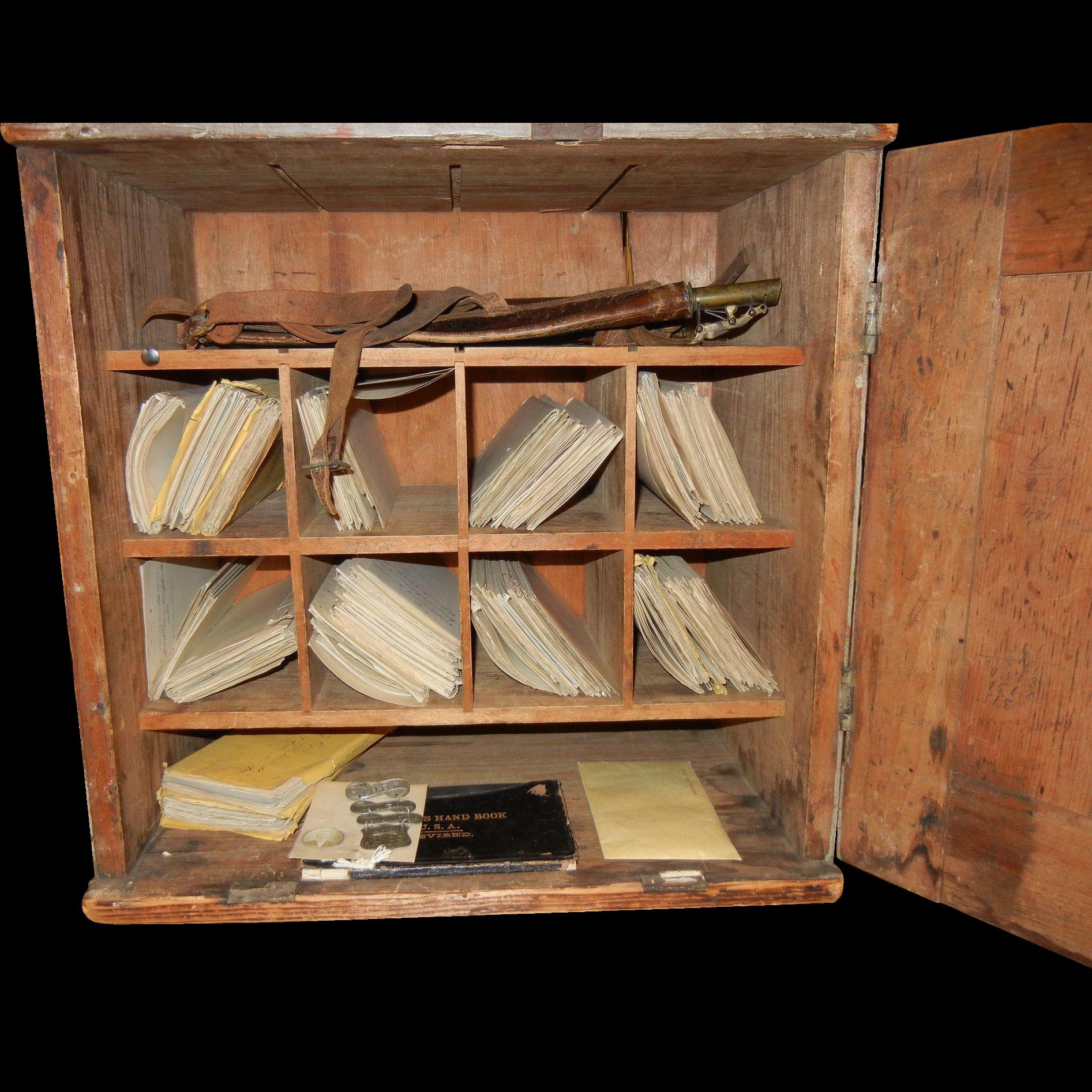 Original Civil War Chest Cupboard Desk w/ Quartermaster's Paperwork