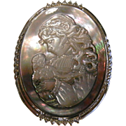 Vintage Carved Abalone Cameo Brooch/Pendent - Child Holding Doll