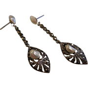 Fine Sterling Silver Stud Earrings w/ Marcasite & Pearls