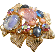 Unique Multi Rhinestone Vintage Gold-Tone Costume Jewelry Brooch