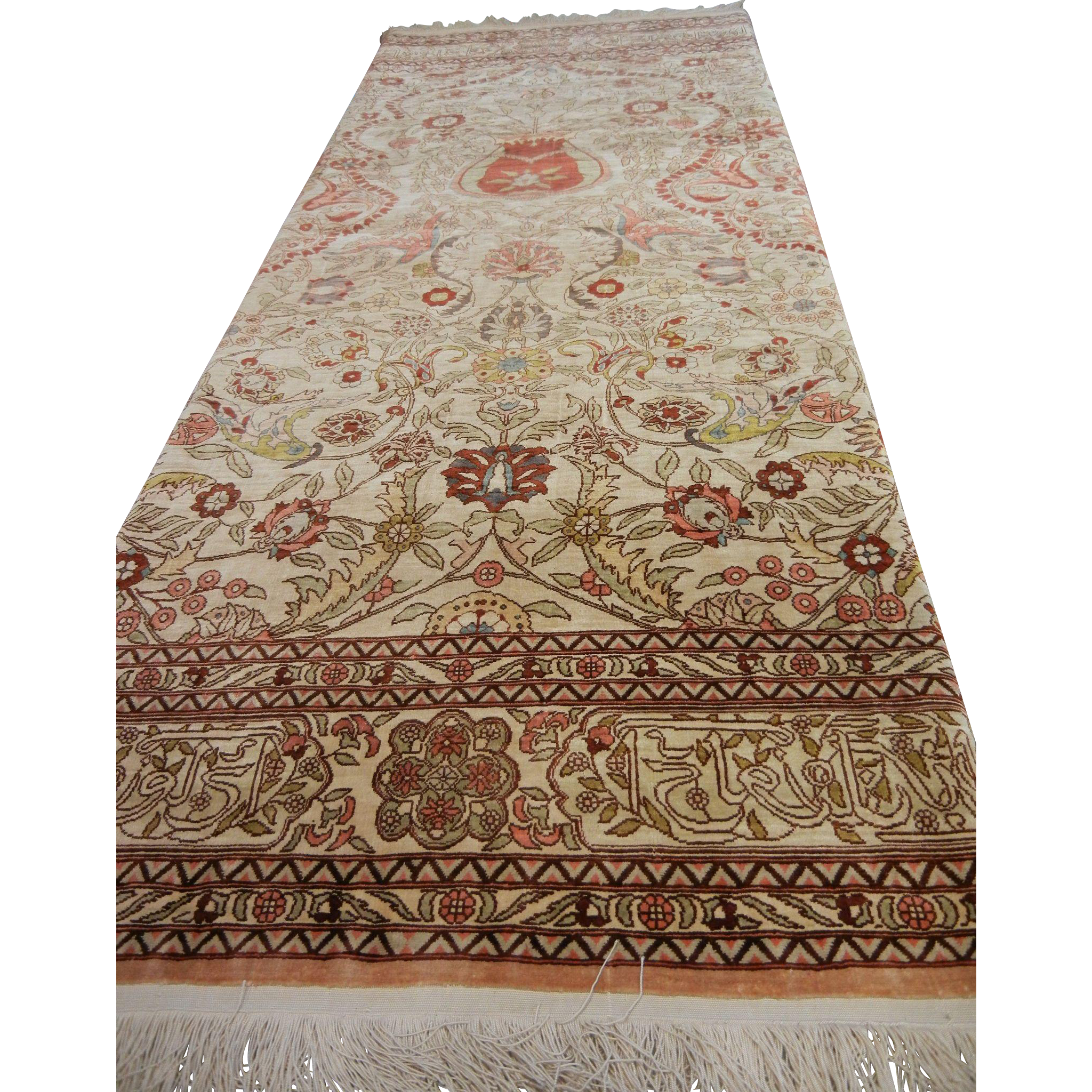 Vintage Fine Hand Woven Turkish Silk Prayer Rug