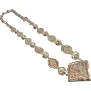 Vintage Ornate Etched Clear Glass Bead Necklace
