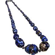 Vintage Foiled Cobalt Blue Glass Graduated Bead Necklace